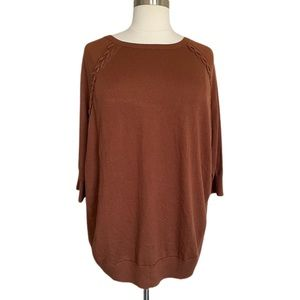 Style & Co Crewneck Braided Lace-Up Shoulder Tunic